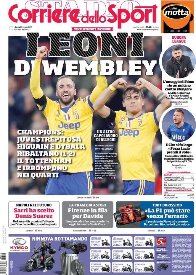 Prima Pagina Corriere dello Sport 08/03/2018 Sport