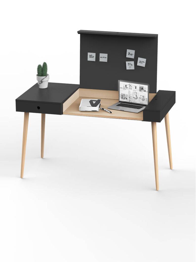 Laptop Desk Modern Writing Desk Mid Century Wooden Desk Etsy