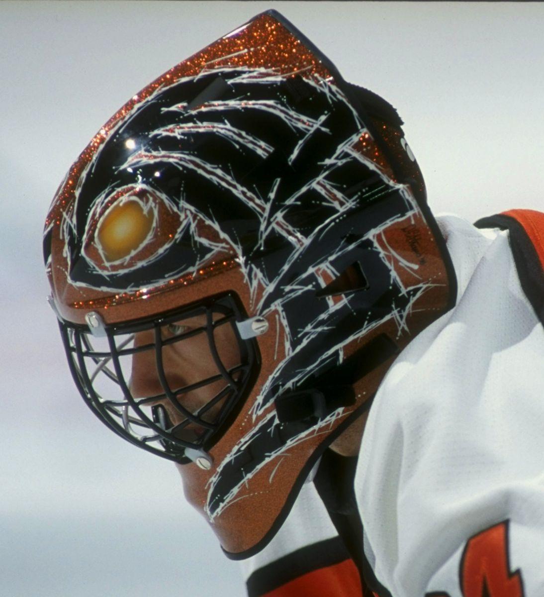 John Vanbiesbrouck's shiny Armadillo mask. I love the