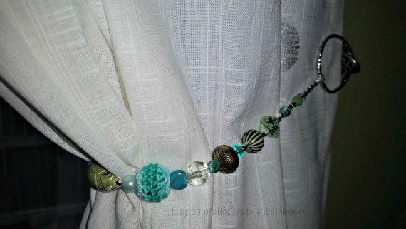 Beaded Curtain Tiebacks Lush Chartreuse And Turquoise Beaded