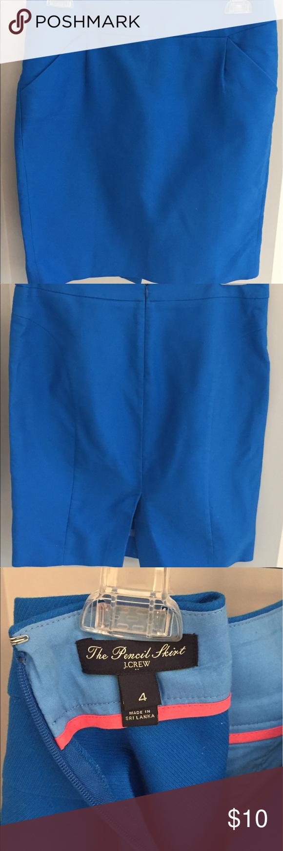 JCrew blue pencil skirt Size 4 blue pencil skirt. JCrew runs a little big so would probably fit a size 6 also. J. Crew Skirts Pencil