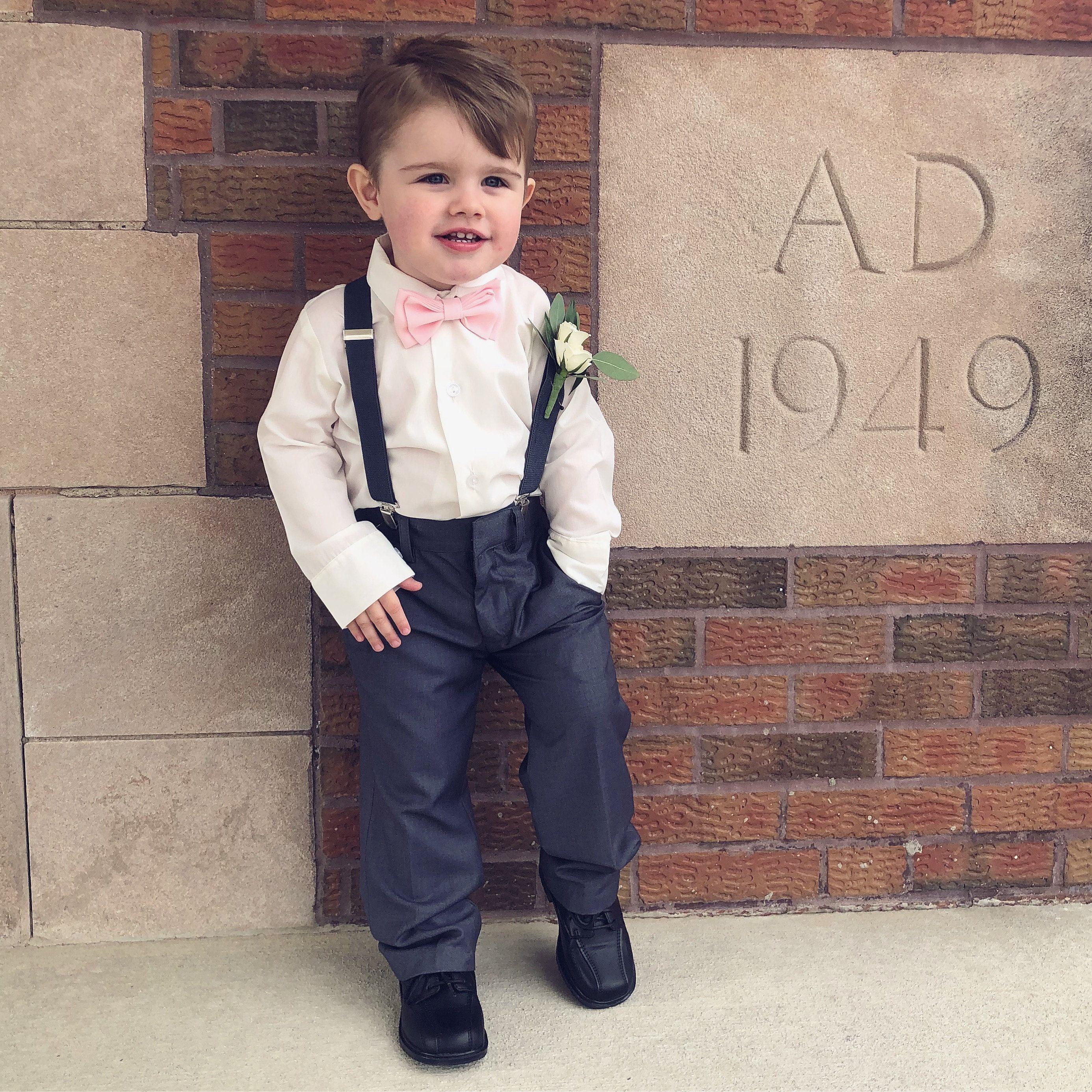 Blush Bow Tie Bow Tie /& Suspenders Ring Bearer Outfit Blush Toddler Bow Tie Pink Bow Tie Blush Baby Bow Tie Wedding Suspenders