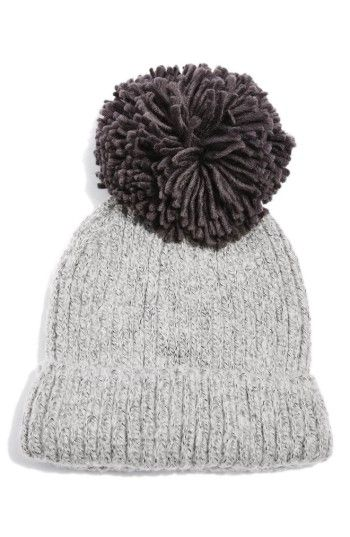 Free shipping and returns on Topshop Pompom Beanie at Nordstrom.com. A soft  and cozy knit beanie gets a playful touch with a super-plush yarn pompom on  top. 102ee62176c