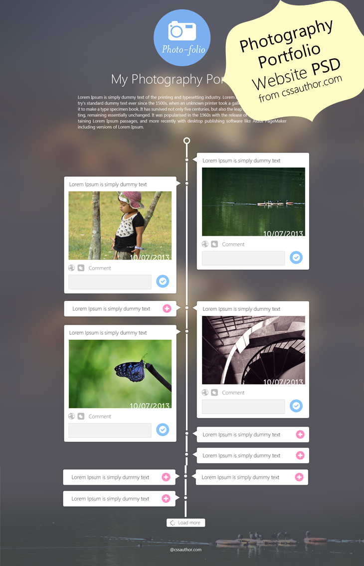 Photography portfolio website template flat ui design photography portfolio website template design psd from css author freebie no 55 pronofoot35fo Gallery