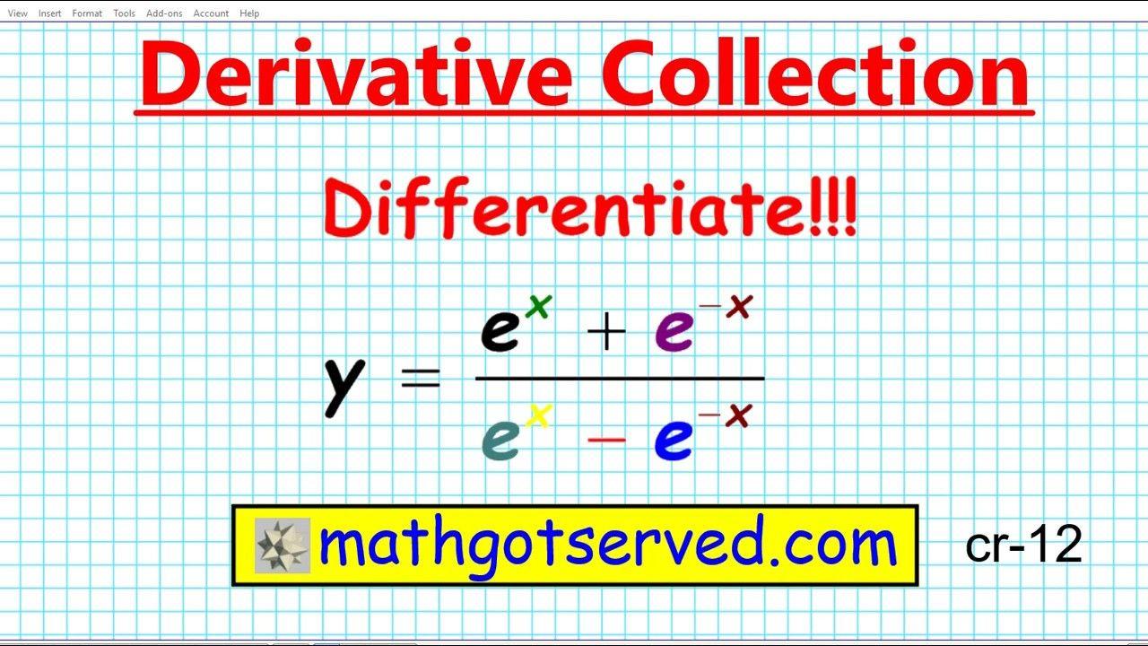 How To Find The Derivative Differentiate E X Over X Chain Rule Derivativ Ap Calculus Chain Rule Math Videos