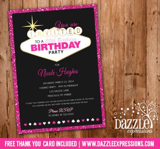 Printable Pink Glitter Vegas Birthday Invitation Casino 21st - birthday itinerary template