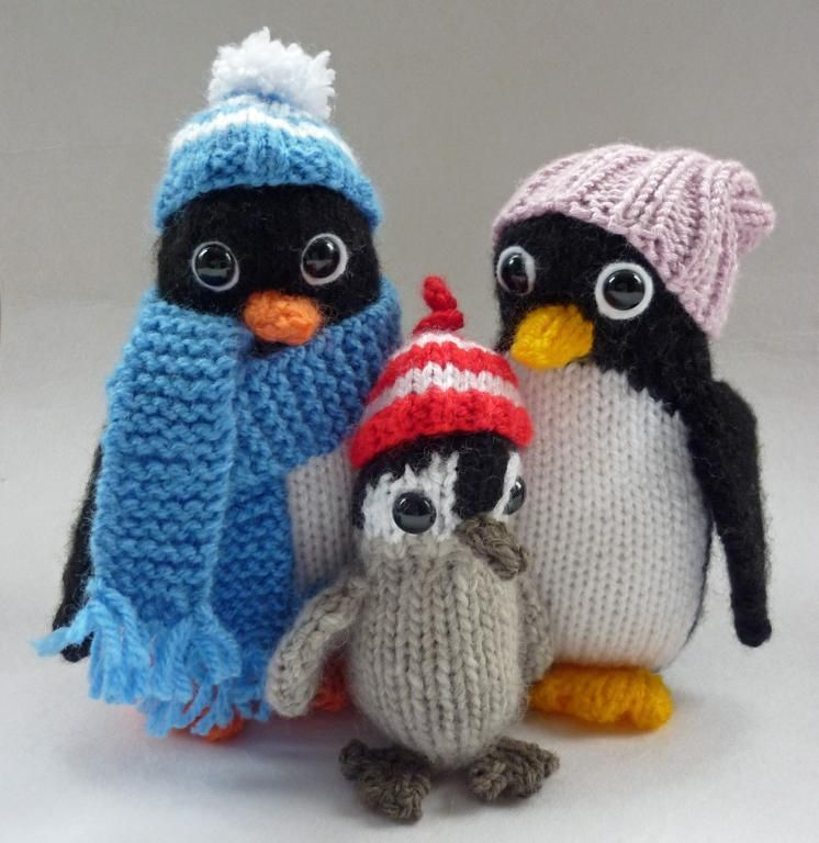 Penguin Family | Penguins, Knit patterns and Knitting toys