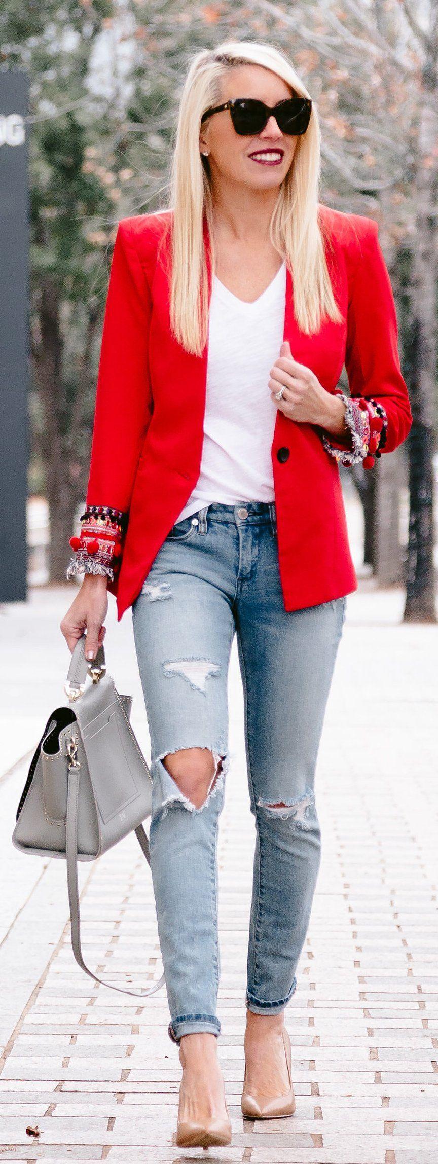 winter #fashion Red Blazer White Tee Destroyed Skinny