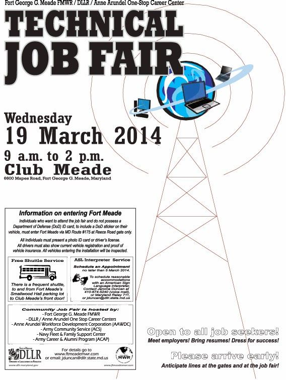 Fort Meade Job Fairs Fort Meade Technical Job Fair March 19 2014