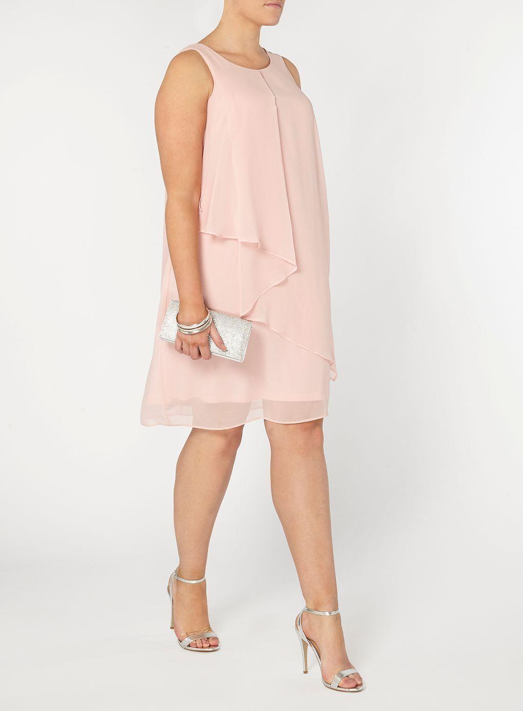 Plus Size Fashion  Blush Pink Frill Front Dress plus size