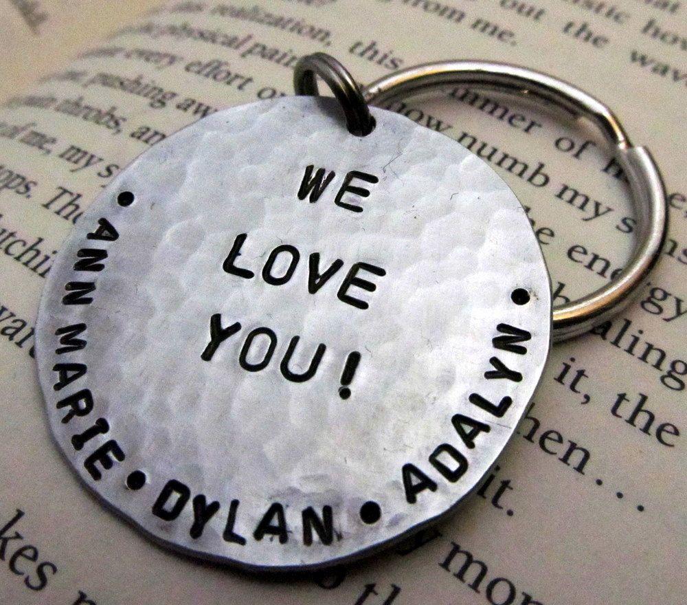 personalized key chain - dad keychain - stamped key chain