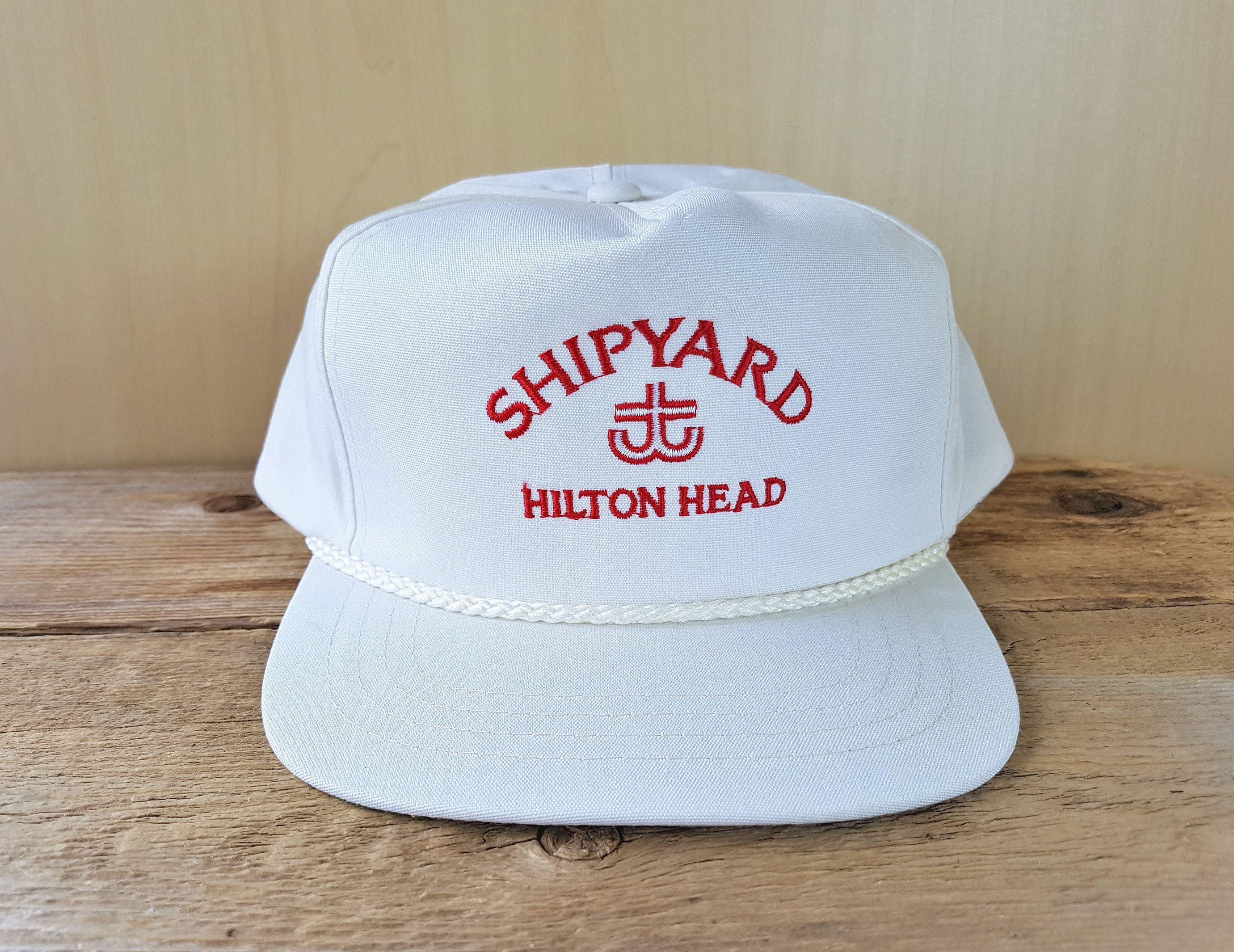 Shipyard Hilton Head Vintage White Strapback Golf Hat Rope Etsy White Vintage Golf Hats Hilton Head