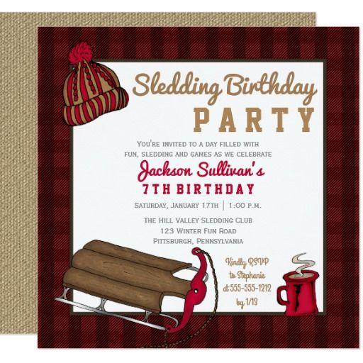Red Black Plaid Sledding Birthday Party Card Chocolate Birthday