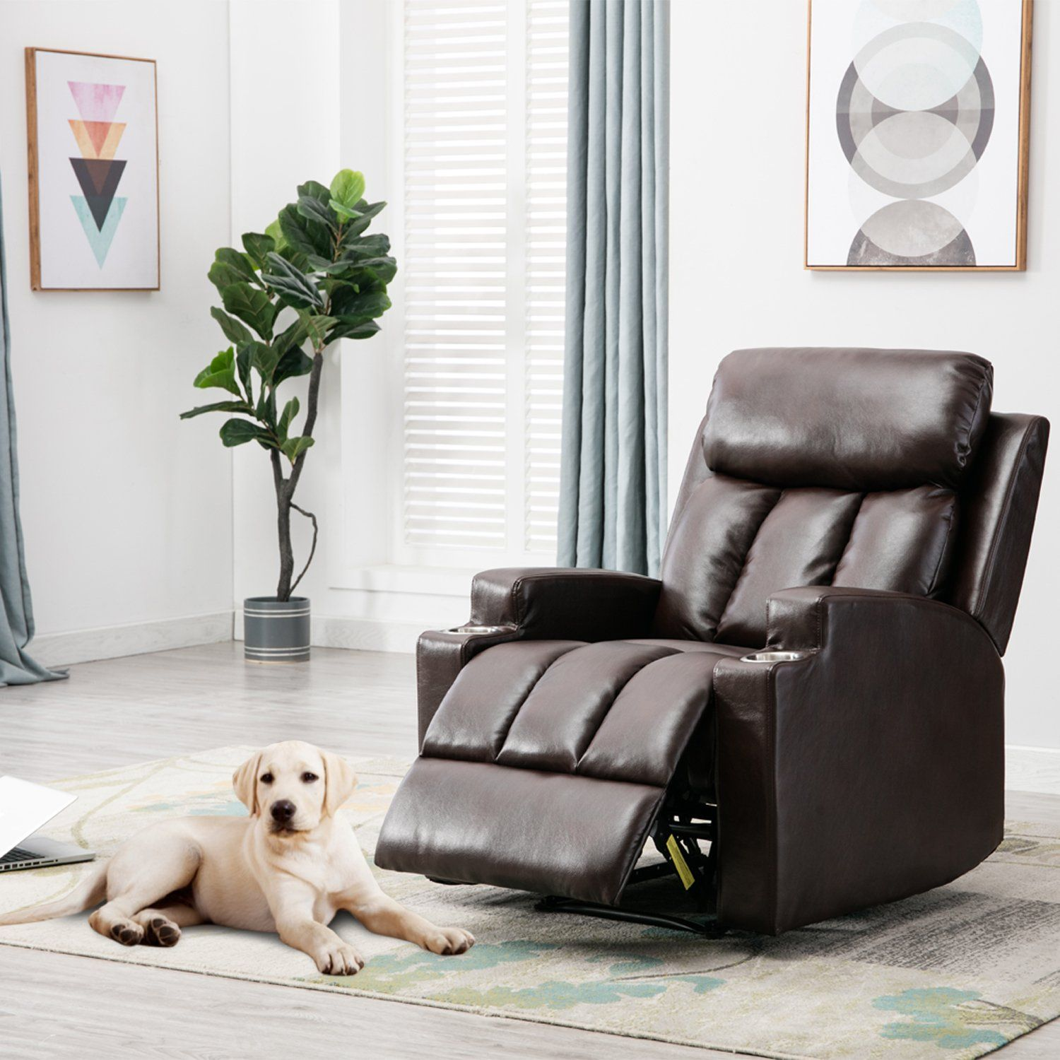 BONZY Recliner Chair Contemporary Theater Seating two Cup