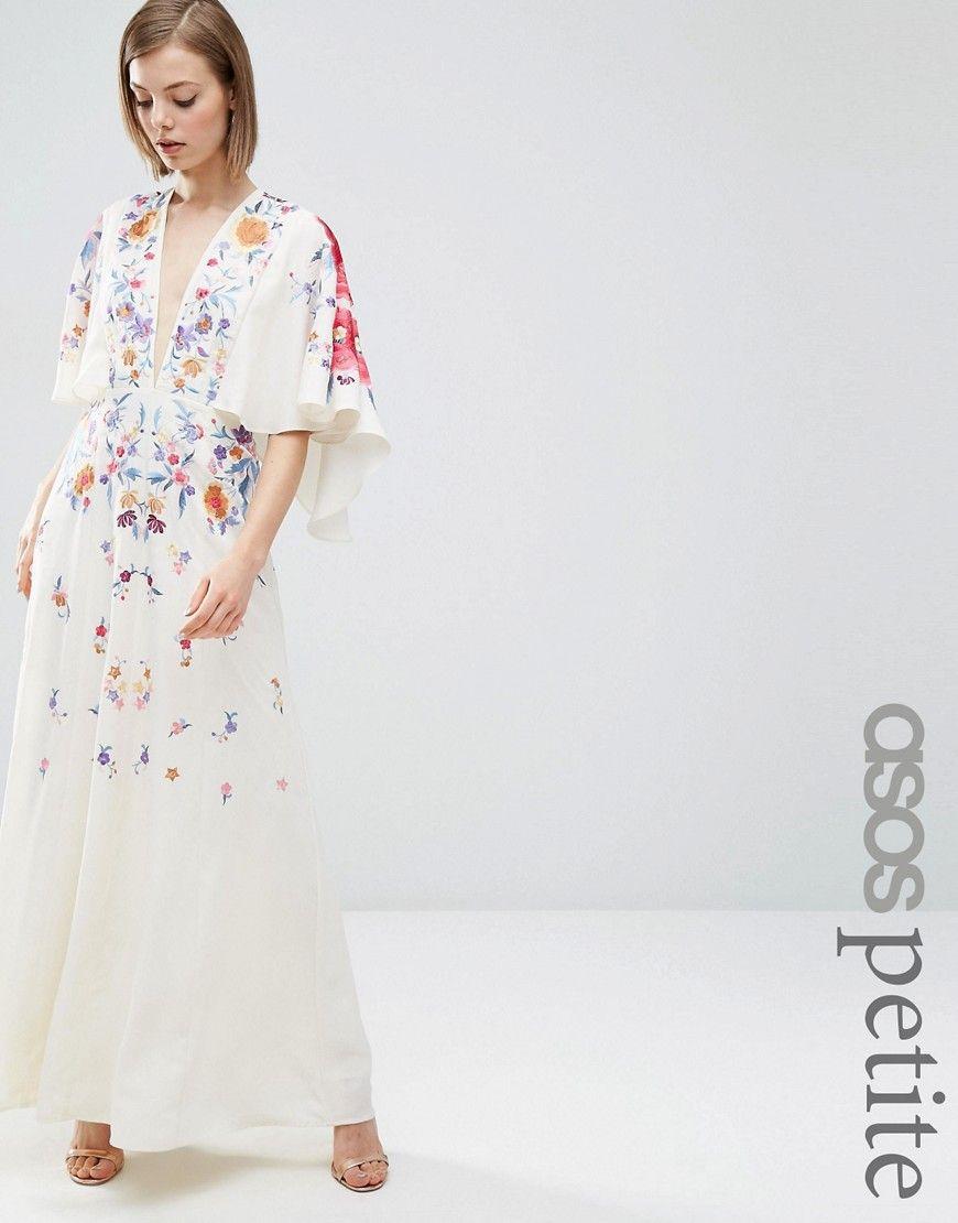 f9f4eefd11e65 ASOS PETITE Embroidered Kimono Maxi Dress