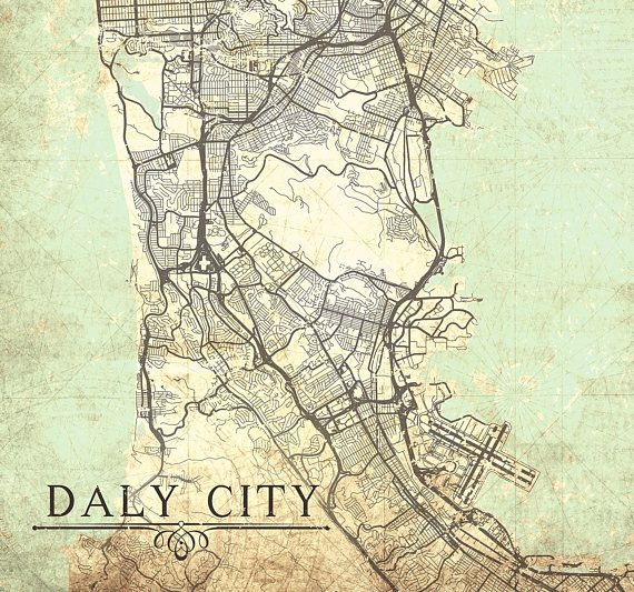 DALY CITY CA Canvas Print California Ca Vintage map Daly City