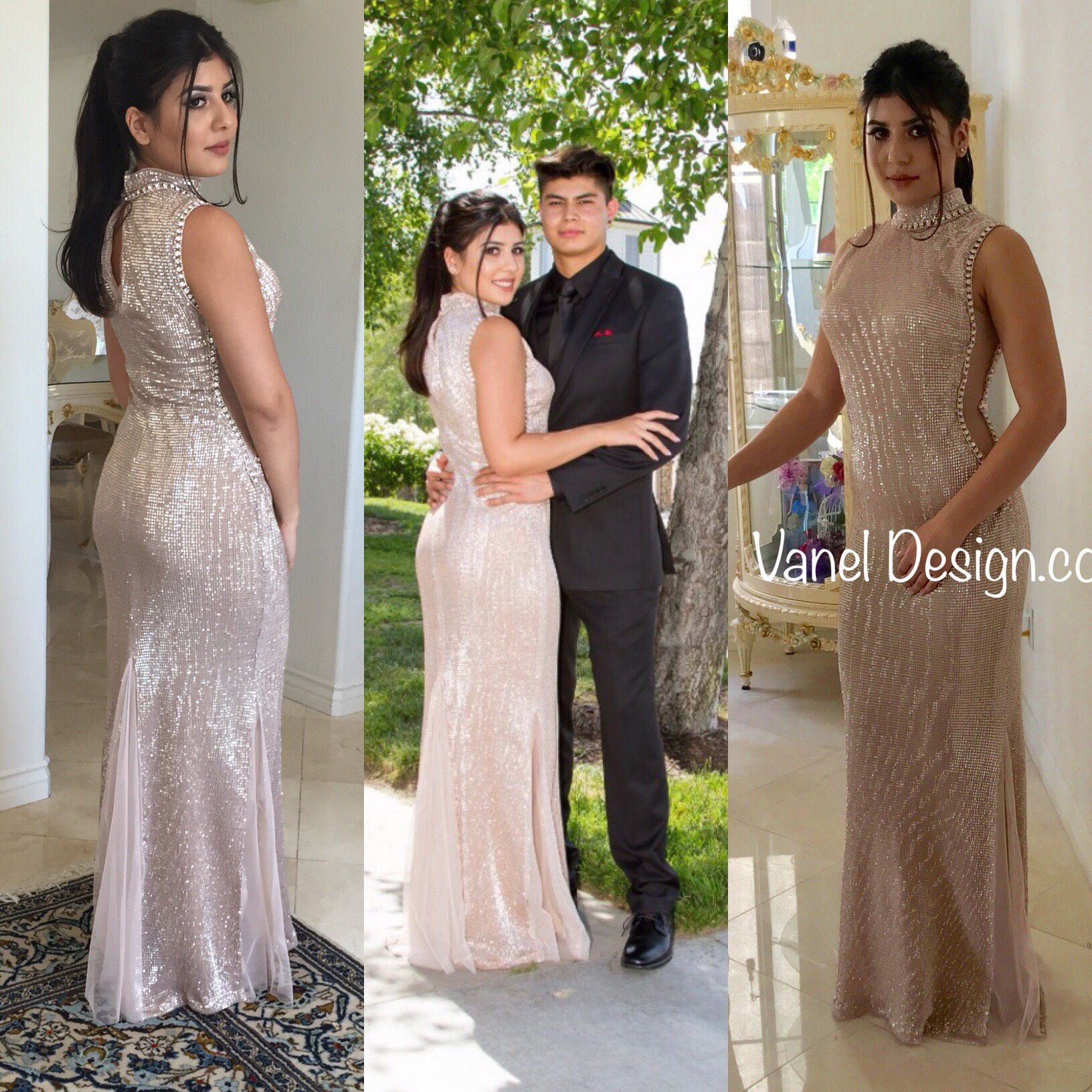 Prom dress bridesmaid dress sequins rosegold long champagne sequin