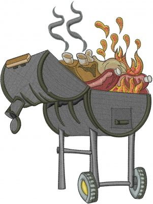 Barbecue Grill Embroidery Design Barbecued Grills Embroidery