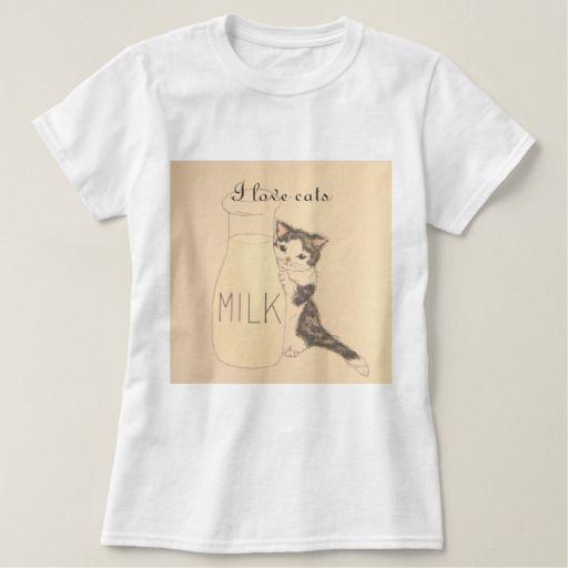 I love cats 【ミルク瓶と仔猫ちゃん】レディースベーシックTシャツ T-シャツ