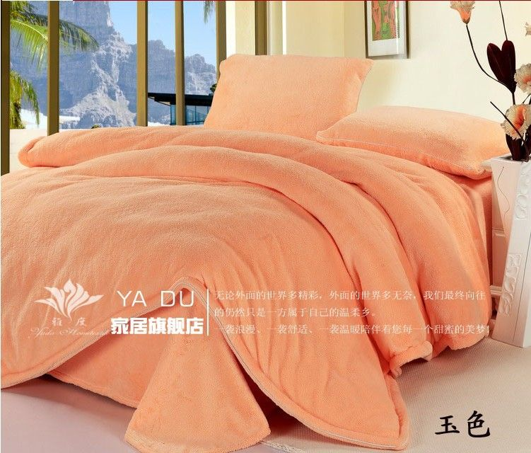 Free-Shipping-Thickening-Luxury-Top-Quality-Pure-Shallow-Orange ... : coral colored quilt - Adamdwight.com