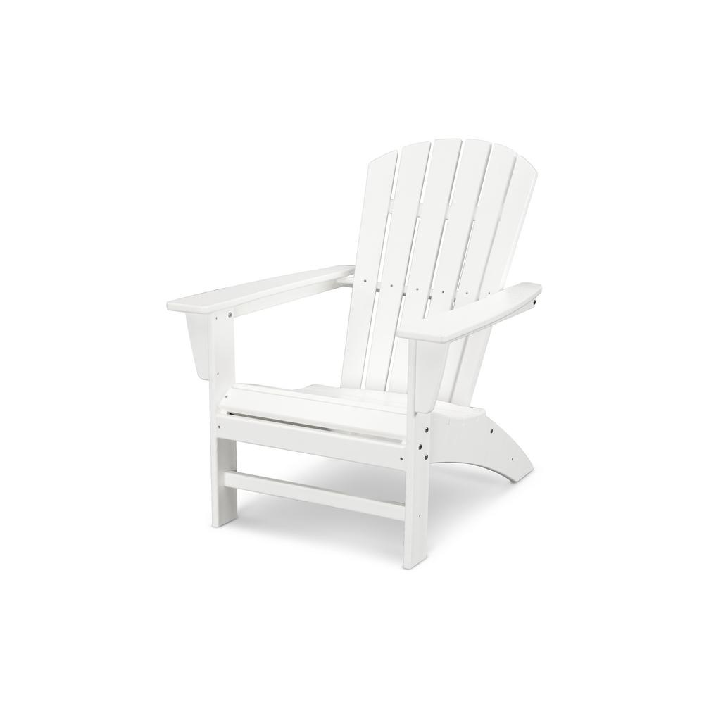 Polywood Grant Park Traditional Curveback White Plastic Outdoor Patio Adirondack Chair Ad440wh The Home Depot Adirondack Chairs Patio Patio Adirondack Outdoor Chairs