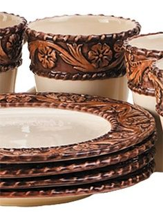 china+dishes | How awesome?!?! Tooled Leather Western Dinnerware LOVE!  sc 1 st  Pinterest : western dishes dinnerware - pezcame.com