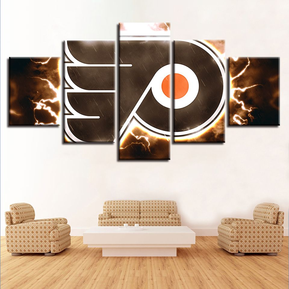 5 Pieces Canvas Painting Wall Art Lightning Philadelphia Flyers Sport For Living Room Decor Wall Canvas Cheap Wall Art Wall Art Canvas Painting
