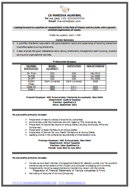 sample template of an experienced chartered accountant resume sample with career objective and
