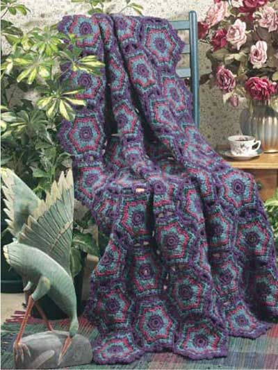 Hexagon Ripple Afghan Size Approximately 41 X 60 Level