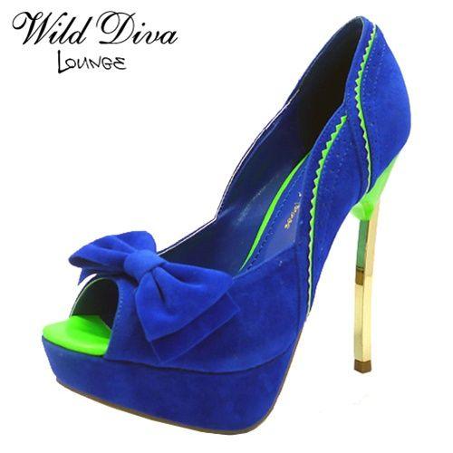 20e8f116463 Cobalt Blue - Neon Green High Heel Pump | Wedding - Lime Green ...