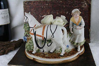 Gorgeous German antique bisque porcelain horse farm girl planter jardiniere