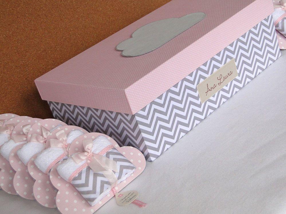 Kit Maternidade Nuvenzinha Chevron Cinza Com Poa Rosa Bebe