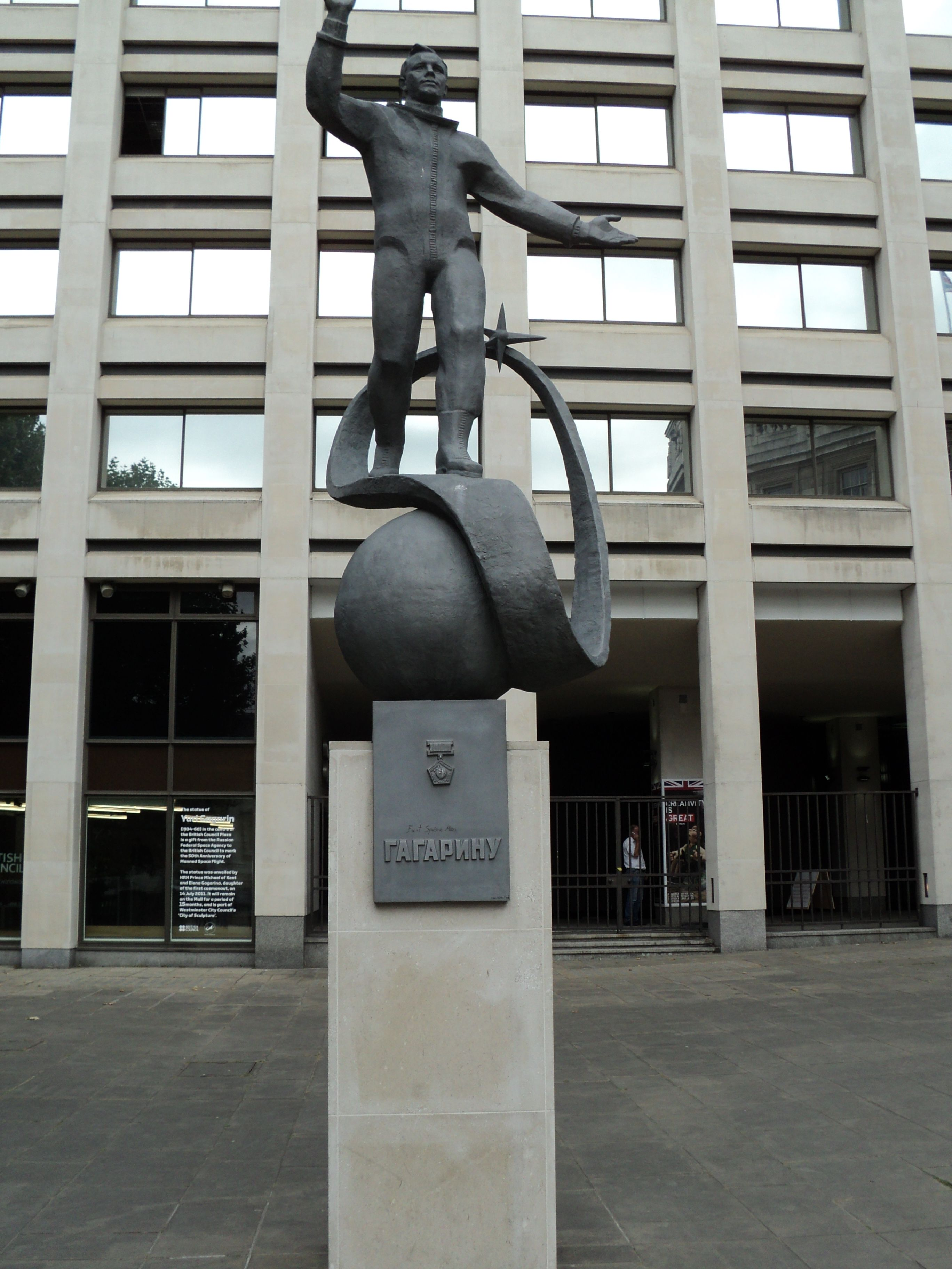 Statue of Yuri Gagarin in front of the British Council