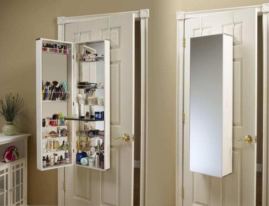 Make Up Organizer Mirror Cosmetic Armoire Mirrored Armoire Wall Mounted Jewelry Armoire Bathroom Makeup Storage