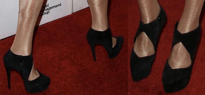 black designer cut out booties