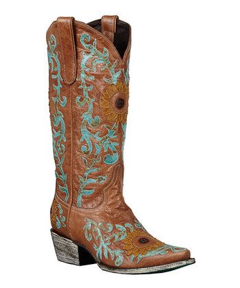 9aacd050373 Tan Sunflower Cowboy Boots | Boots I want | Cowboy boots, Boots ...
