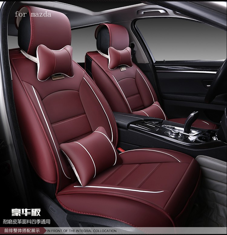 99.50$  Buy now - http://alis3s.worldwells.pw/go.php?t=32743064736 - For mazda 3 6 mazda cx-5 beige coffee red black waterproof soft pu leather car seat covers easy clean front &rear full seat