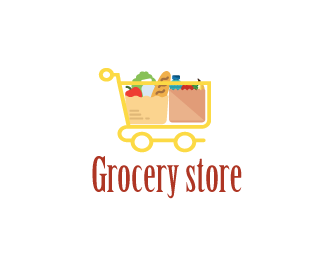 Grocery Store Logo Design A Cart With Groceries Price 150 00 Grocery Store Design Supermarket Logo Grocery Store