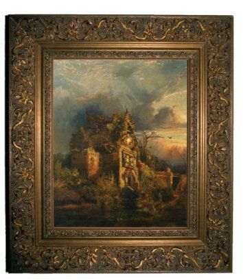 Thomas Moran Haunted House 1858 - GOLD Framed Canvas Print 8x10 - scary halloween house decorations