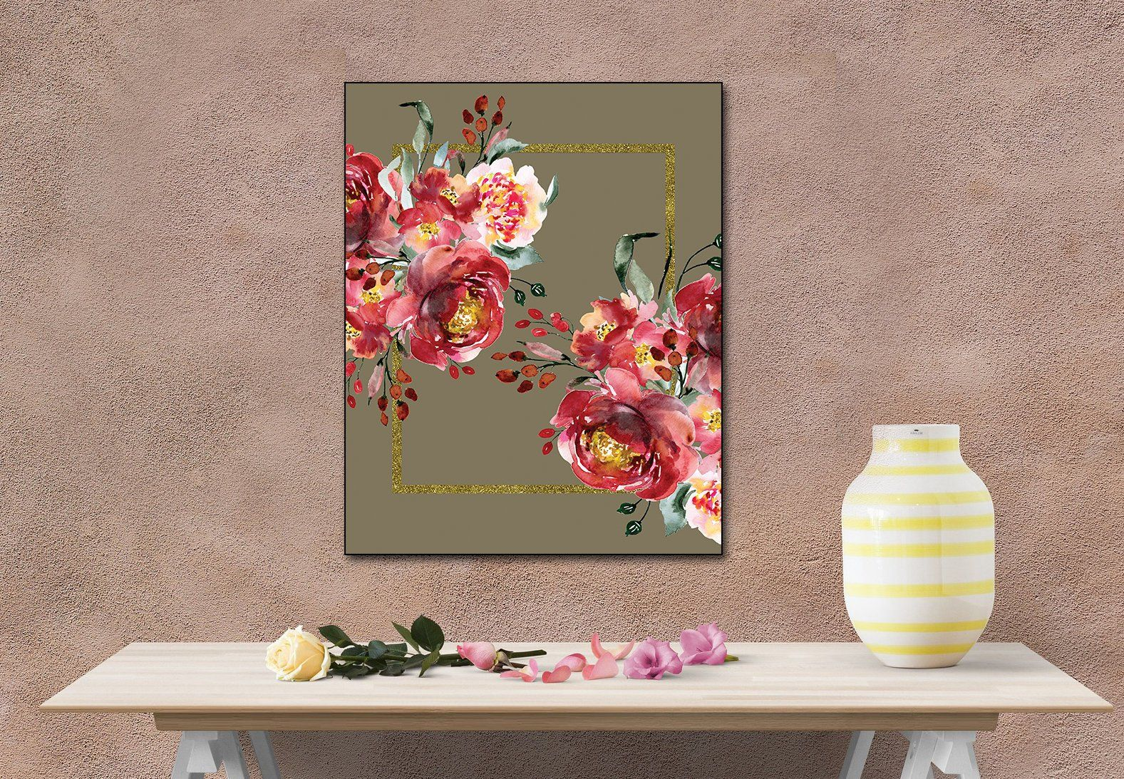 Amazing RED FLOWERS PRINT on a sparkling gold frame for