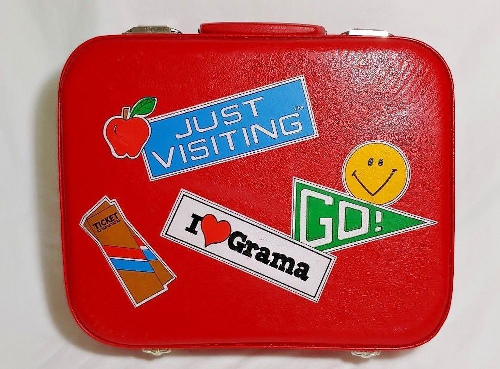 Vintage Child S Red Suitcase I Love Grama Overnight Hard Shell