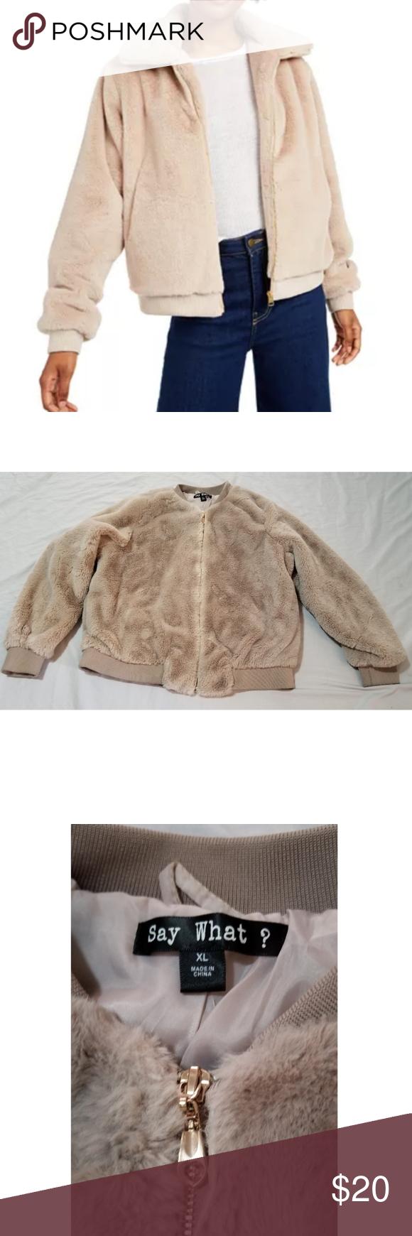 Faux Fur Bomber Jacket Soft Fuzzy Beige Euc In 2021 Faux Fur Bomber Jacket Red Faux Fur Jacket Coats Jackets Women [ 1740 x 580 Pixel ]