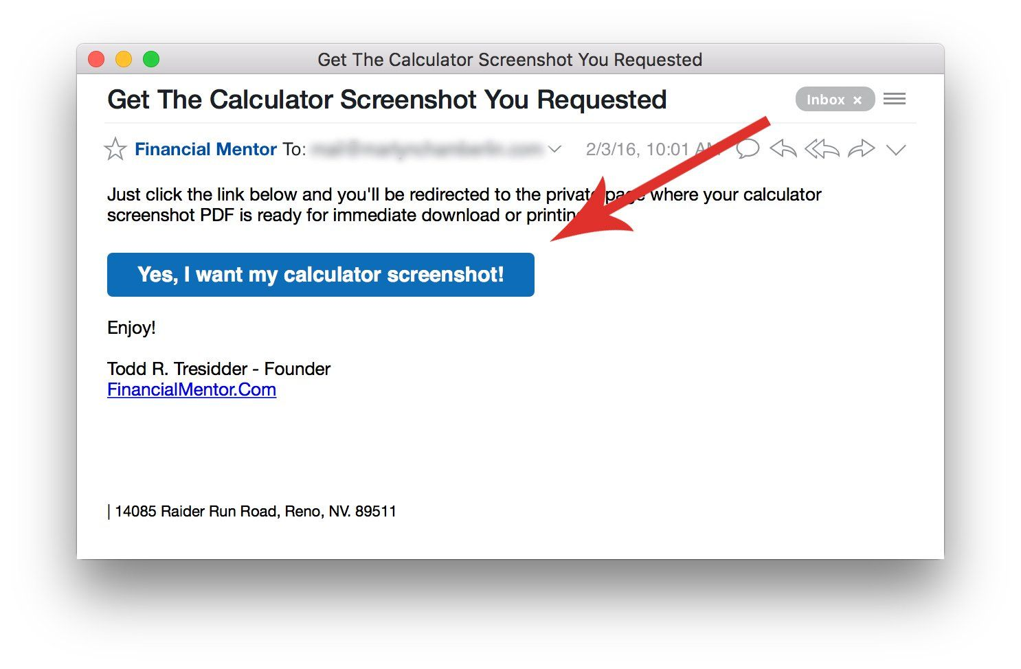 Email confirmation required for calculator screenshot