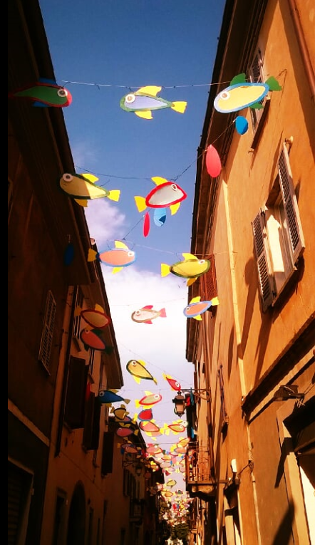 Flying fish. On the ground in Treviglio summer 2015 - Bg - Italy