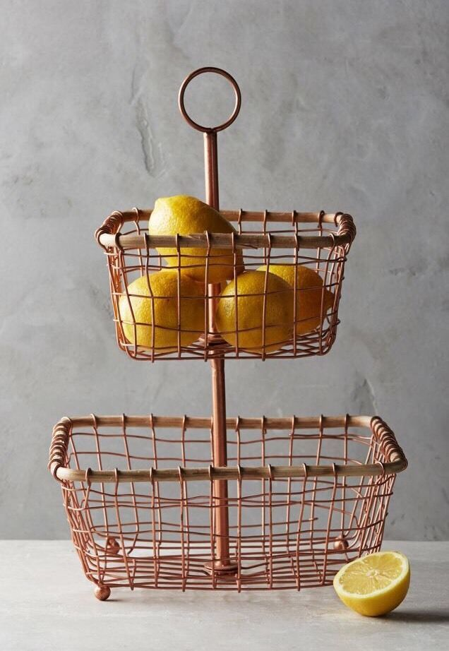 Anthropologie Copper Wired Tiered Basket NWT