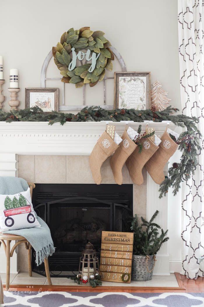 Magnolia Wreath Christmas Mantel Decor Diy Christmas Mantel