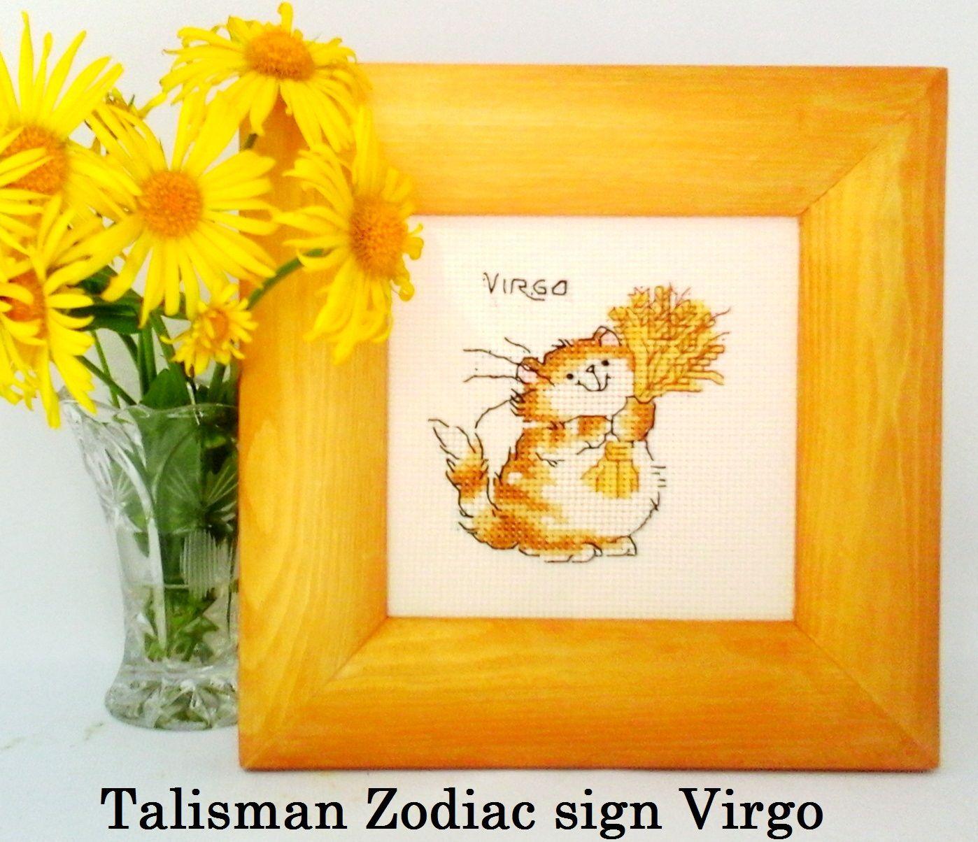 Embroidery design Zodiac sign Virgo Cross stitch picture Funny cat ...