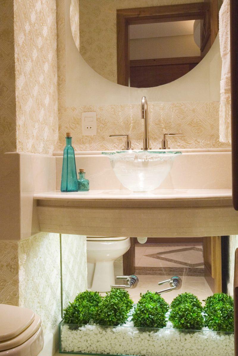 Cuba de vidro dá leveza ao banheiro pequeno – Projeto Tânia Bertolucci – Fotó -> Cuba Para Banheiro Pequena