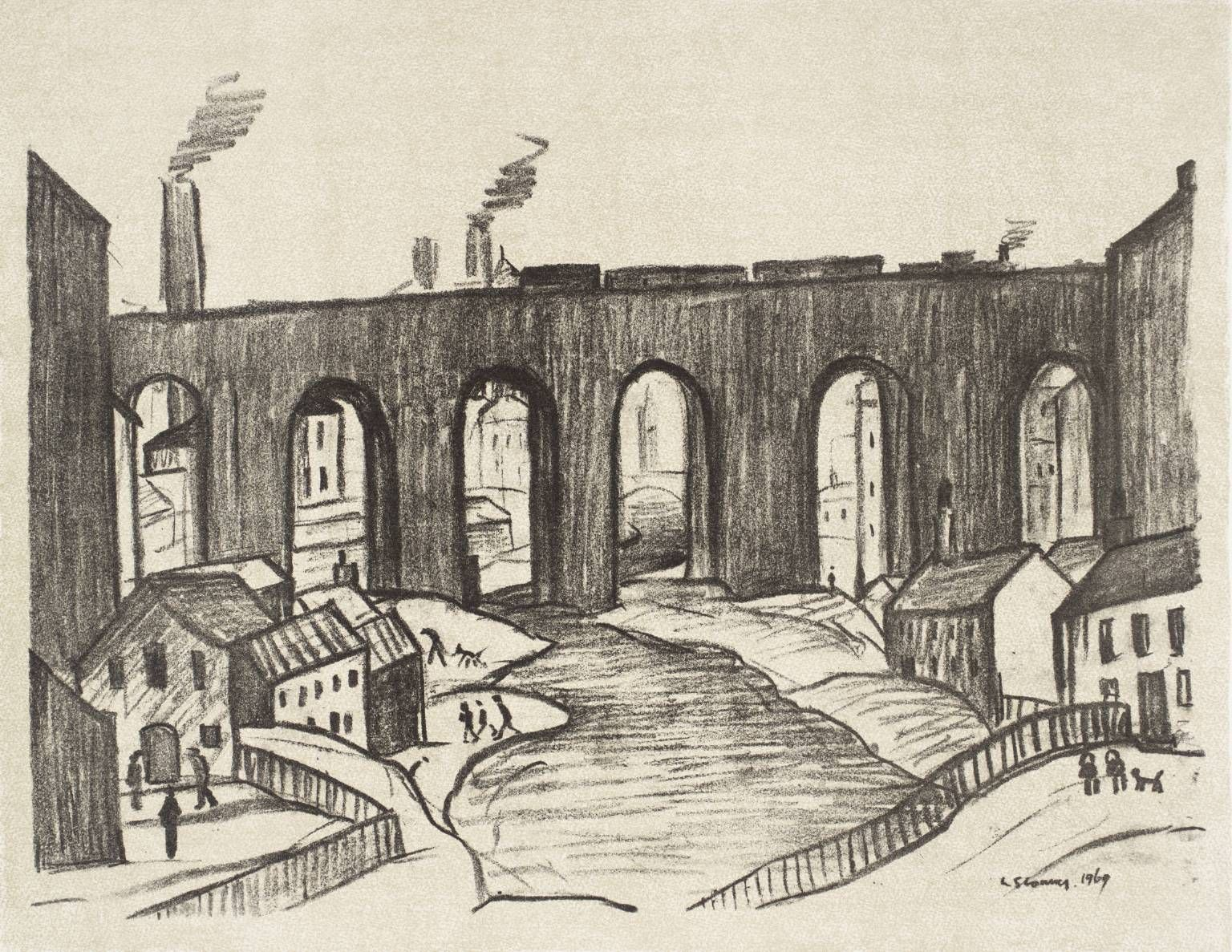 early lowry charcoal drawing