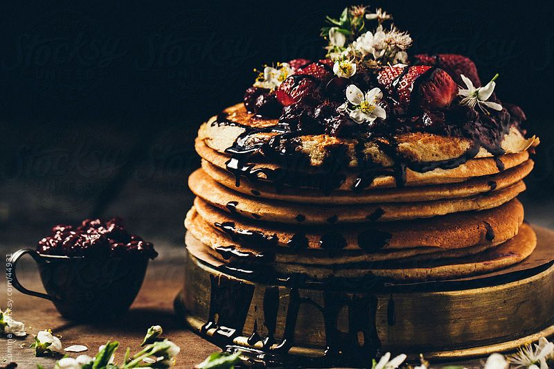 Pancakes With Chocolate and Strawberries by Lumina